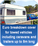 Euro breakdown cover for caravans and trailers up to 8m long